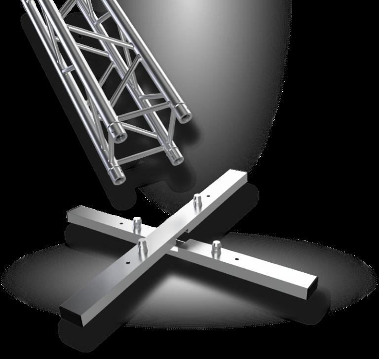 Vertitruss MXA-1000 Traversen Bodenplatte in Einzelteilen mit Traverse